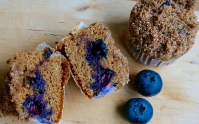 HEALTHY BLUEBERRY STREUSEL MUFFINS